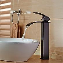 Votamuta Oil Rubbed Bronze Single Lever Waterfall Spout Bathroom Vessel Sink Faucet Tall 1 Handle Hole Basin Mixer Taps