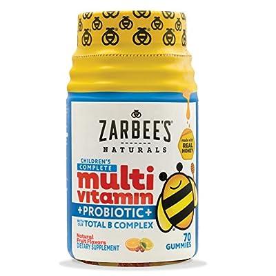 Zarbee's Naturals Children's Complete Multivitamin + Probiotic Gummies Sweetened with Honey, Natural Fruit Flavors, 70 Count