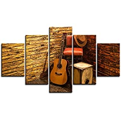 """Retro Music Wall Art Guitar Vintage Canvas Prints Home Decor Decals for Living Room Bedroom Modern Still Life Pictures 5 Panel Large Posters HD Printed Painting Framed Ready to Hang (70""""Wx40""""H, g)"""