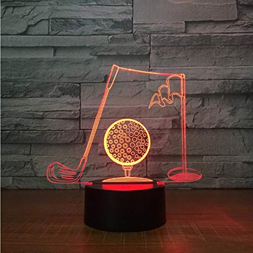 3D Luz Nocturna,Control Remoto Palos De Golf 3D Lámpara De ...