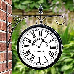 RRYHE Outdoor Garden Kensington Station Outside Bracket Wall Clock 25cm Double Sided