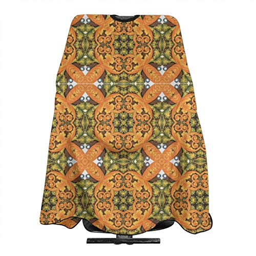 DFAUHAL French Garden Parterre Fabric Barber Cape - Professional Hair Salon Nylon Cape with Closure