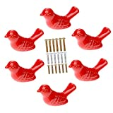 Corasays Bird Shape Ceramic Knobs DIY Door Drawer Cupboard Pull Handle Furniture Kitchen Handle Knobs and Pulls for Cabinets, Pack of 6 (Red)