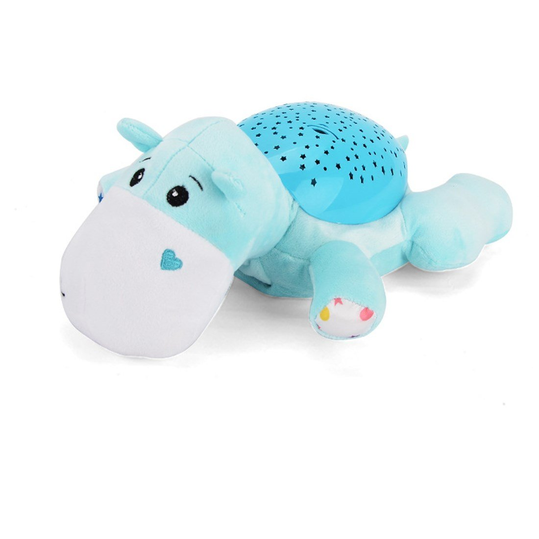 ESOCOME Baby Plush Hippo Toy Hypnotic Star and Moon Light Projector with Melodies -Animal Doll Sleep Soother Starry Night Light for Baby Infant Kids Nursery by ESOCOME (Image #3)
