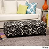 Whse of Tiffany Bolbolac Fabric-upholstered Storage Bench, White Flower