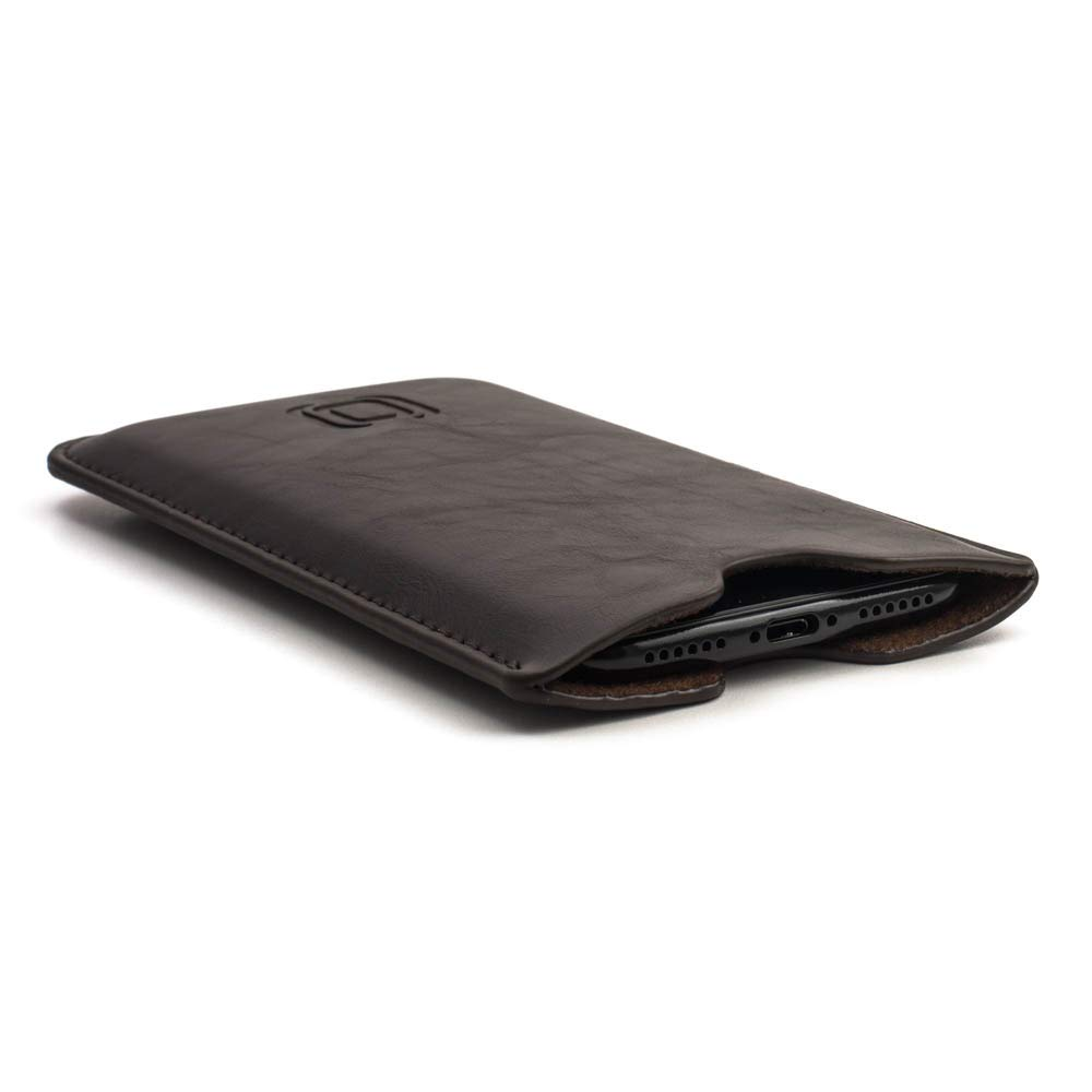 Dockem Executive Sleeve for iPhone XR: Slightly Padded Premium Synthetic/Vegan Leather with Microfiber Lining, Slim, Simple, Slip-on Case [Dark Brown] by Dockem