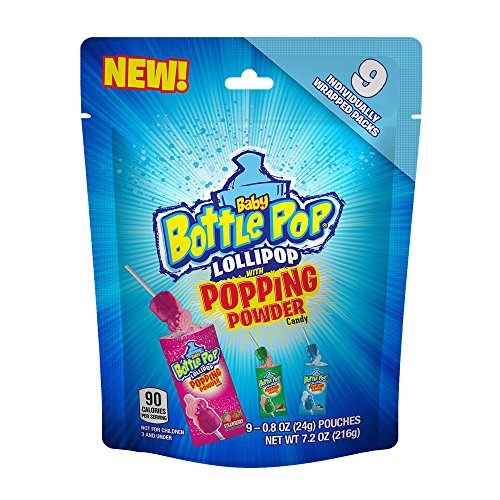 Baby Bottle Pop Lollipop with Popping Powder Candy, Assorted Flavors, 7.2 Ounce Bag