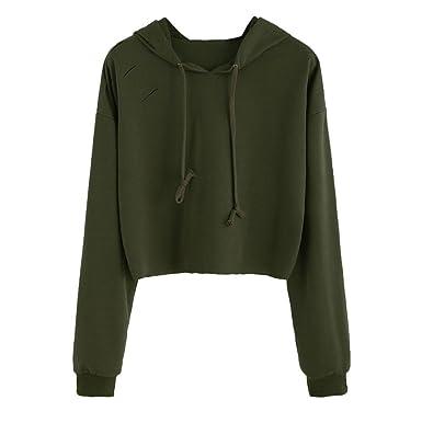 93c904f391d BSGSH Women's Sexy Distressed Plain Hoodie Long Sleeve Pullover Sweatshirt  Crop Top (S, Army
