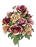 Admired By Nature 14 Stems Artificial Blooming Rose & Hydrange Ivy Mix Flowers Bush for Home Office, Wedding, Restaurant Decoration Arrangement, Wine Mix, 2 Piece