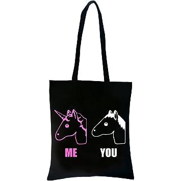 PREMYO Bolsa de la Compra Reutilizable Tela Bolso Tote Shopping para Mujer Asas Largas Impresión Unicornio Rosa Práctico Cómodo Robusto Algodón Negro