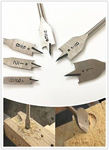 DRILLFORCE 6pcs Wood Flat Bits Set 3//8-1