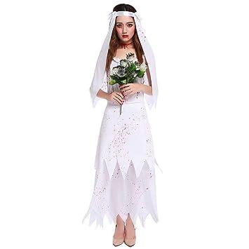 GLXQIJ Disfraz De Novia De Zombie De Cementerio Blanco Vestido De ...