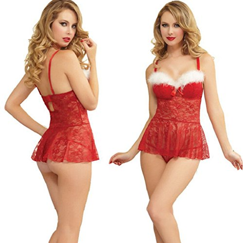 Creazrise Sexy Lingerie Adult Women Nurse Fancy Dress Costume Cosplay Outfit Set (Red, XL) -