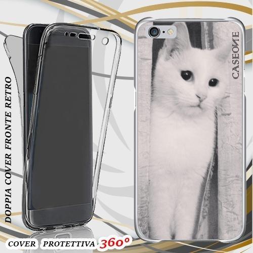 CUSTODIA COVER CASE GATTO CAT BIANCO PER IPHONE 6 FRONT BACK