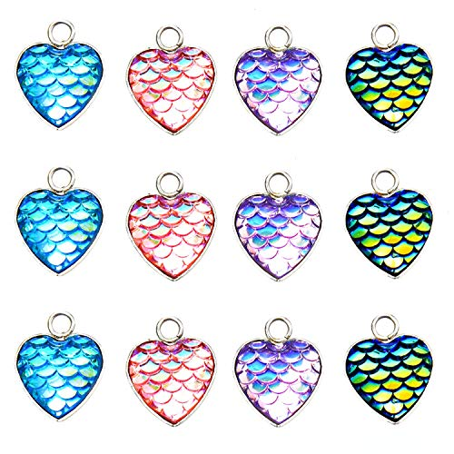 Monrocco 20Pcs Heart Mermaid Scale Charms Pendant Mermaid Scale Connectors 16x12mm for Jewelry Making Necklace Bracelet ()