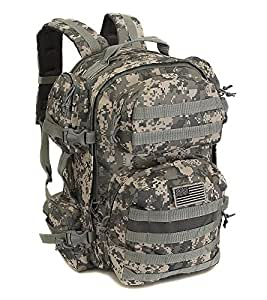 NPUSA Men's Large Expandable Tactical Molle Hydration ReadyBackpack Daypack Bag - ACU Digital Camo