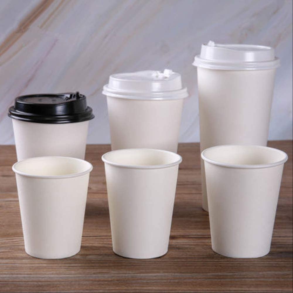 100pcspack White Paper Cups With Lid Disposable Coffee Cup Milk Tea Cup Household Office Drinking Accessories Party Supplies