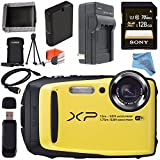 Fujifilm FinePix XP90 Digital Camera (Yellow) 16500466 + Sony 128GB SDXC Card + Lithium Ion Battery + External Rapid Charger + Memory Card Wallet + Card Reader + Fibercloth + HDMI Cable Bundle