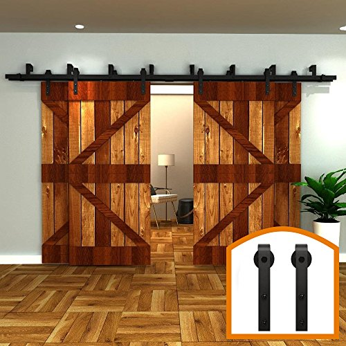 ZEKOO 14 FT 4 Doors Bypass Sliding Interior Barn Door Hardware Rustic Style Use for Four Doors Wooden Kit