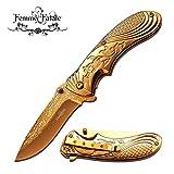 New SPRING ASSIST FOLDING POCKET ProTactical Limited Edition Elite Knife | Femme Fatale Women Girl Gold Rose FF-A008GD