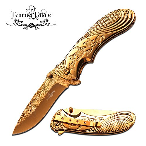 New SPRING ASSIST FOLDING POCKET ProTactical Limited Edition Elite Knife | Femme Fatale Women Girl Gold Rose FF-A008GD (Pocket Female Knife)