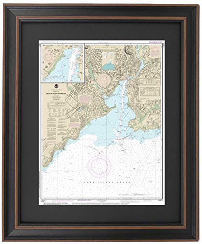 Patriot Gear Company | Framed Nautical Map 12371 : North Shore of Long Island Sound; New Haven Harbor- Standard Size