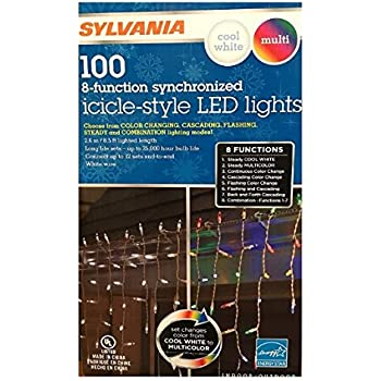 sylvania christmas lights 100 icicle style led lights 8 function color changing warm white - Multi Function Led Christmas Lights