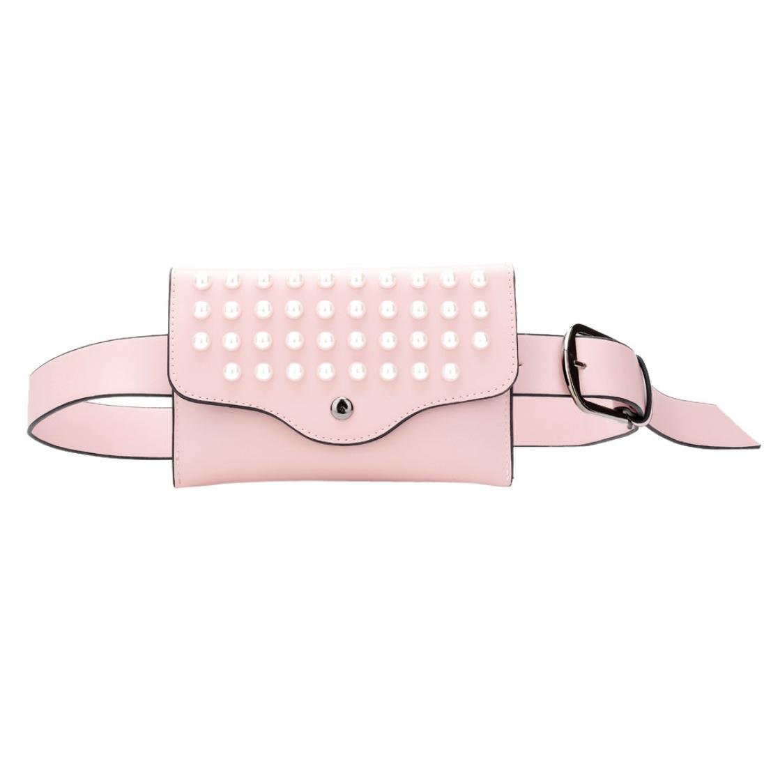 Inkach Waist Pack Bags - Womens Leather Pearl Fanny Packs Shoulder Chest Crossbody Bag (Pink)