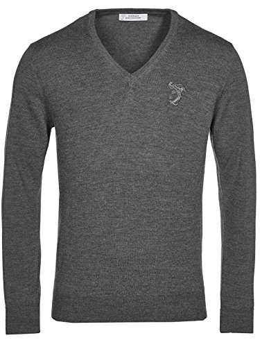 Versace Collection Gray V-neck Wool Sweater - Customer Versace Service