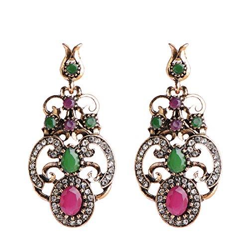 MECHOSEN Vintage Women Dangle Earrings Rhinestone Crystal Turkish Jewelry Sculpture Flower Design Metal ()