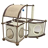 Kitty City 2 Hideaway Sections and Rounded Top with Toy Cat Condo Duplex - Tan