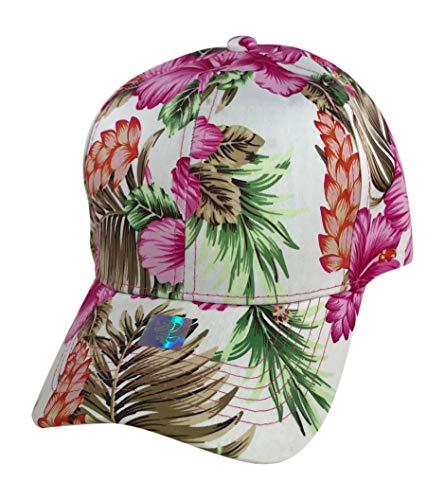 Prfcto Lifestyle Floral Print Baseball hat - Hawaiian Flower Baseball Caps (White & Aqua Floral Print)