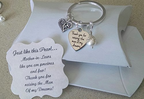 Mother In Law Gift, Mothers Day Gift for Mother In Law, Mother Of The Groom Gift From Bride, Thank You For Raising The Man Of My Dreams, Mother of Groom, Pearl KEYCHAIN, Charm is Size of a Nickel (Gifts For Bride From Groom)
