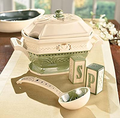 """Grasslands Road 473072 Celtic Ceramic Gift Boxed Tureen with Lid and Ladle 11""""/Large Green/Cream/White/Lime/Gold"""