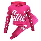 New Girls Star Print Hooded Top & Bottom Kids Tracksuit Jogging Set Loungewear Outfit Age 7-13 Years (Cerise, 13 Years)