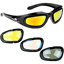 [Patrocinado] Gafas Aully Park polarizadas para montar en motocicleta Marco negro con kit de 4 lentes para deportes al aire libre