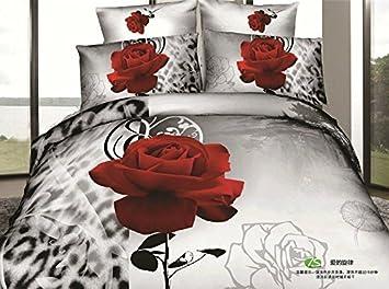 Ensemble Complet Reine Rose Rouge 3d Fleurs Blanc Noir Motif Floral