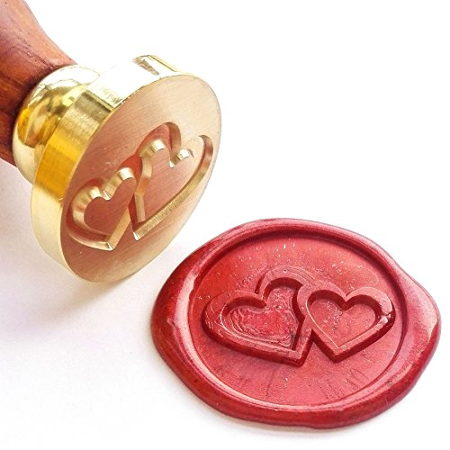 2 Heart Stamp (Vooseyhome The Two Hearts Wax Seal Stamp with Rosewood Handle)