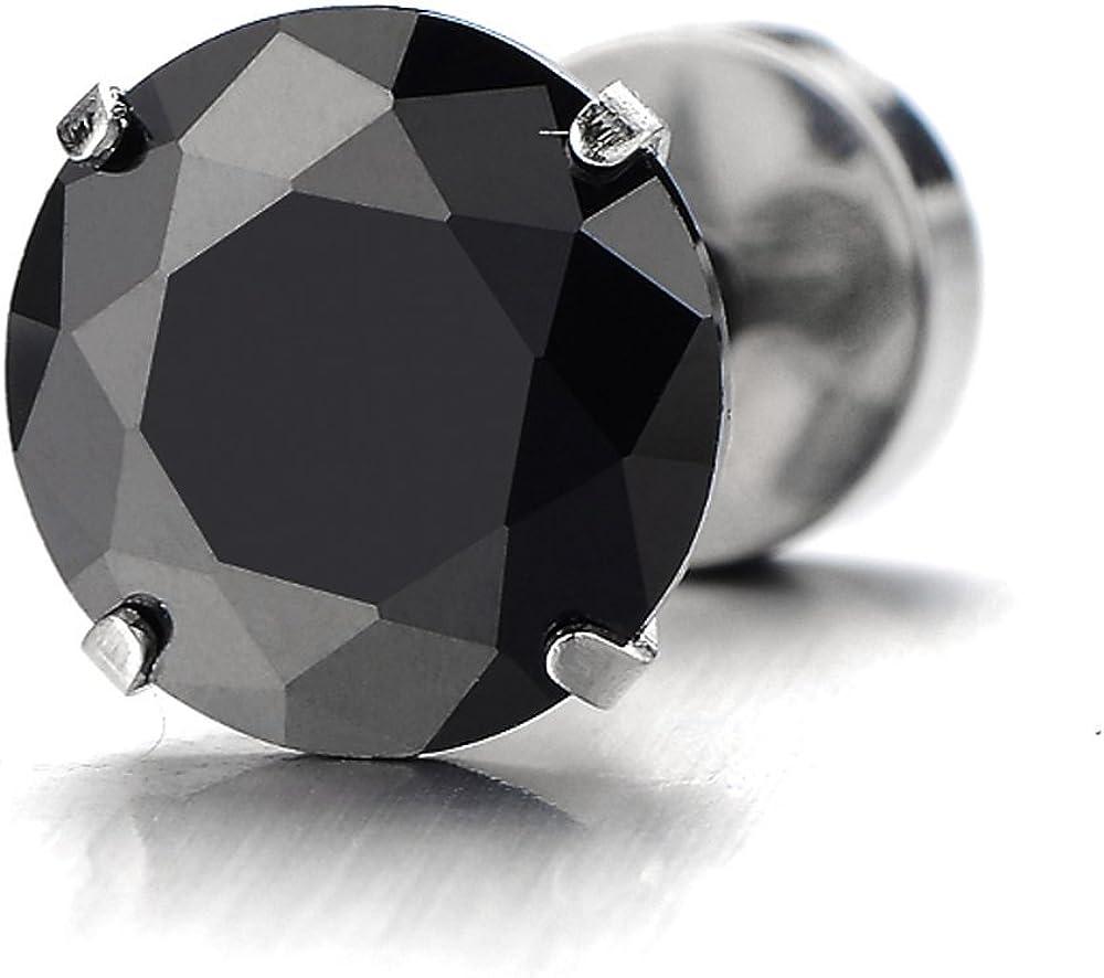 Acier Mixte 1 Paire 3-8MM Zircon Cubique Noir Boucles doreilles Homme Femme Clous doreille Couleur Noir