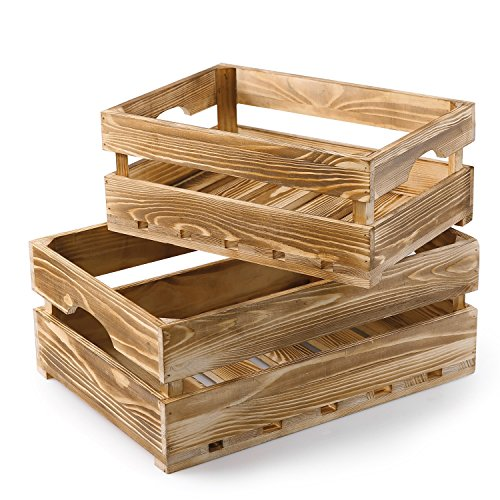 MyGift Country Rustic Light Torched Wood Nesting Storage Crates, Decorative Display Boxes, Set of 2 ()