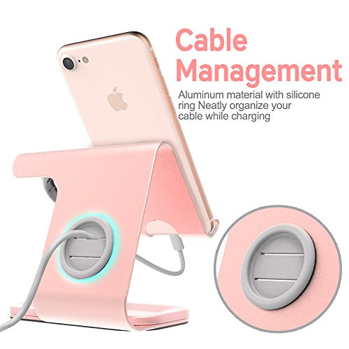ZVEdeng Cell Phone Stand & Watch Stand for Apple & Tablet Stand, 2 in 1 Phone Stand for iPhone X/8/7/7 Plus/6/6 Plus/5S/SE/5, iPad, All Android Smartphones, Kindle(Rose Gold-Leather) by ZVEdeng (Image #4)
