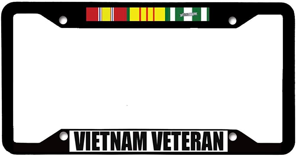 Stainless Steel Car License Tag Holder URCustomPro Vietnam Veteran Black Military License Plate Frame Novelty Auto Car Tag Frame for US Vehicles