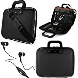 """Black SumacLife Cady Bag Textured Hard Case w/ Removable Shoulders Strap for Asus eee Pad Slider SL101 Android 10.1"""" Sliding Tablet + Black Handsfree Hifi Noise Isolating Stereo Headphones with Windscreen Microphone and Soft Silicone Ear Tips"""
