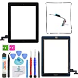 OmniRepairs-Glass Touch Screen Digitizer with Home Button Flex Cable OEM Replacement For iPad 2 (2nd Generation) with Adhesive Tape, Midframe Bezel, Screen Protector and Repair Toolkit (iPad 2 Black)