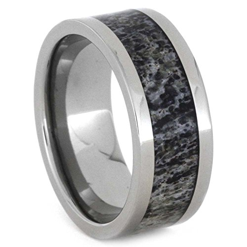 Deer Antler 8mm Comfort-Fit Titanium Band and Sizing Ring, Size 7.75 by The Men's Jewelry Store (Unisex Jewelry)
