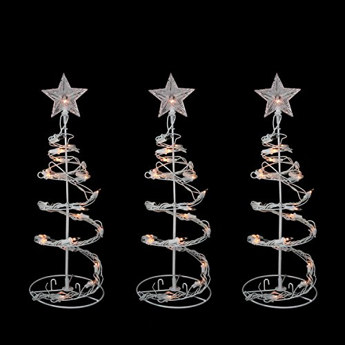 Set of 3 Clear Lighted Outdoor Spiral Walkway Christmas Trees Outdoor Decorations 18