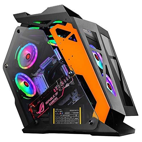 ZQ House Computer Main Case Gaming Internet Cafe Computer Case, Colour: Little Coffee Black Orange Durable