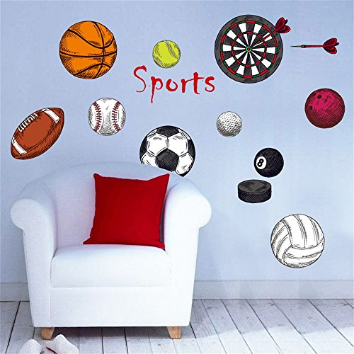 DecalMile Sports Wall Decals Basketball Football Wall Stickers Peel and Stick Removable Wall Art for Kids  sc 1 st  Layered Popups & DecalMile Sports Wall Decals Basketball Football Wall Stickers Peel ...