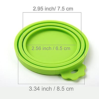 SLSON 2 Pack Pet Food Can Cover Universal Silicone Cat Dog Food Can Lids 1 Fit 3 Standard Size BPA Free and Dishwasher,Blue and Green from SLSON