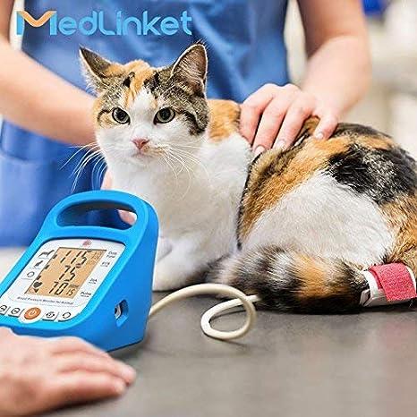 MED LINKET Veterinary - Monitor de presión arterial, esfigmomanómetro electrónico MED LINKET para medir gatos y perros, con 5 puños de diferentes tamaños